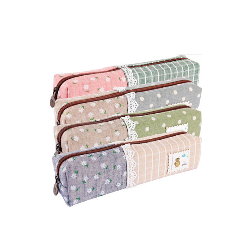 Deli Canvas Pencil case bags for School girls boys ''Floral Dream'' Cute Pencil-case box Stationery products Supplies 66625 new leather pencil case bag for school boys girls vintage pencil case box stationery products supplies as gift for student