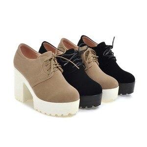 Image 5 - BONJOMARISA Womens Keroan Style Square High Heel Shoes Woman Lace Up Round Toe Platform Pumps Big Size 34 43