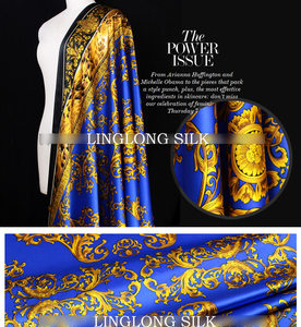 Image 3 - PRINTED SILK STRETCH SATIN 108cm width 19momme/Pure Mulberry Silk Tissus For Wedding Dresses Sewing Golden Leopard