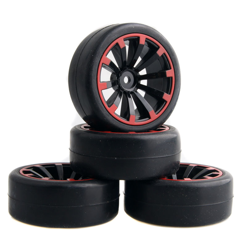 4Pcs/lot 1/10 Run Flat RC Car Black Rubber Tyre Wheel Tire for 1/10 RC On Road racing tires drummer HSP Tamiya HPI Kyosho
