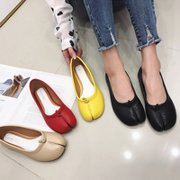 Flats Hoof shoes Woman Shoes shallow Slides Novelty slip on Loafers Casual leather flat shoes for women black red yellow khaki