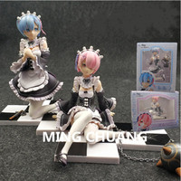 Re:Life In A Different World From Zero Ram Rem Meteor Hammer PVC 10 14CM Action Figure Collectible Model Toy BOX Z108