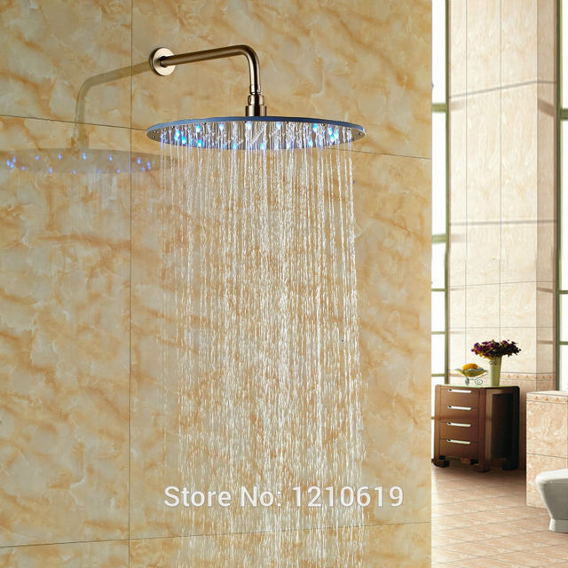 Newly ABS 16 Rain Top Shower Head Nickel Brushed LED Color Changing Sprayer W