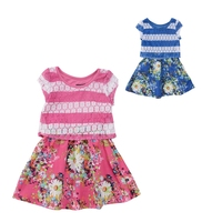 Print Lace Girls Dress Pop Over With Floral Chiffon 2017 New Design Summer Style Blouses For Children Toddler Kids Girl Clothes