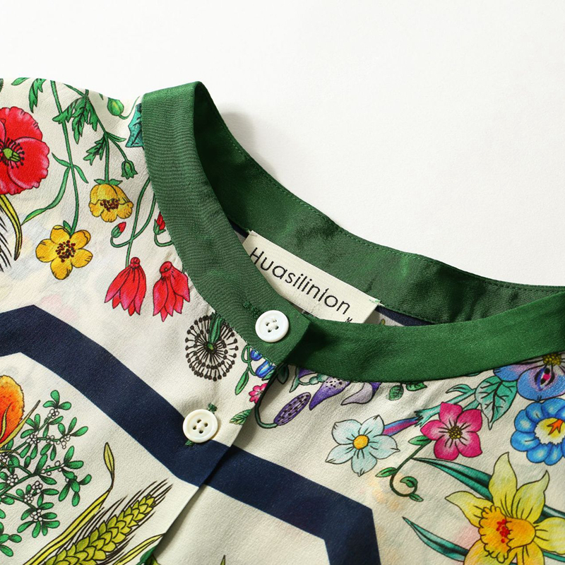 Высококачественная 100% Шелковая женская блузка из легкой ткани с круглым вырезом и длинными рукавами, топы больших размеров, элегантный стиль, новая мода 2019 - 5