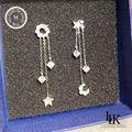 Korea Tassel Style Earrings 925 Sterling Silver Earring For Women Jewelry AAA Zirconia Trendy Star Moon Sun Earring Real Silver