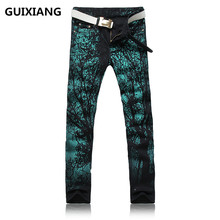 2017 new style trousers Men's 100% cotton straight embroidery jeans Men's high quality brand jeans men Printing jeans