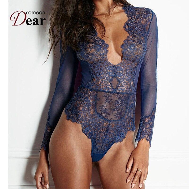 Comeondear Erotic Lingerie Plus Size Lace Long Sleeve Teddy V Neck Lingerie Sexy Hot Erotic Transparent Teddies Bodysuits A80400