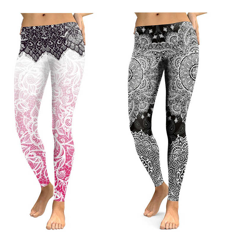 Mesh Pattern Print Leggings Mandala Flower 3D Digital Fitness Legging legins Workout Leggins Elastic Slim Black casual Pants