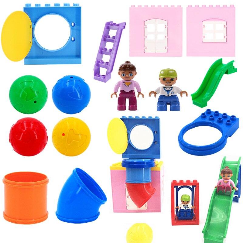 Diy трубы для игровых площадок, боковые качели, строительные блоки, детские игрушки для детей, совместимые с Duploed деталями, развивающие игрушк...