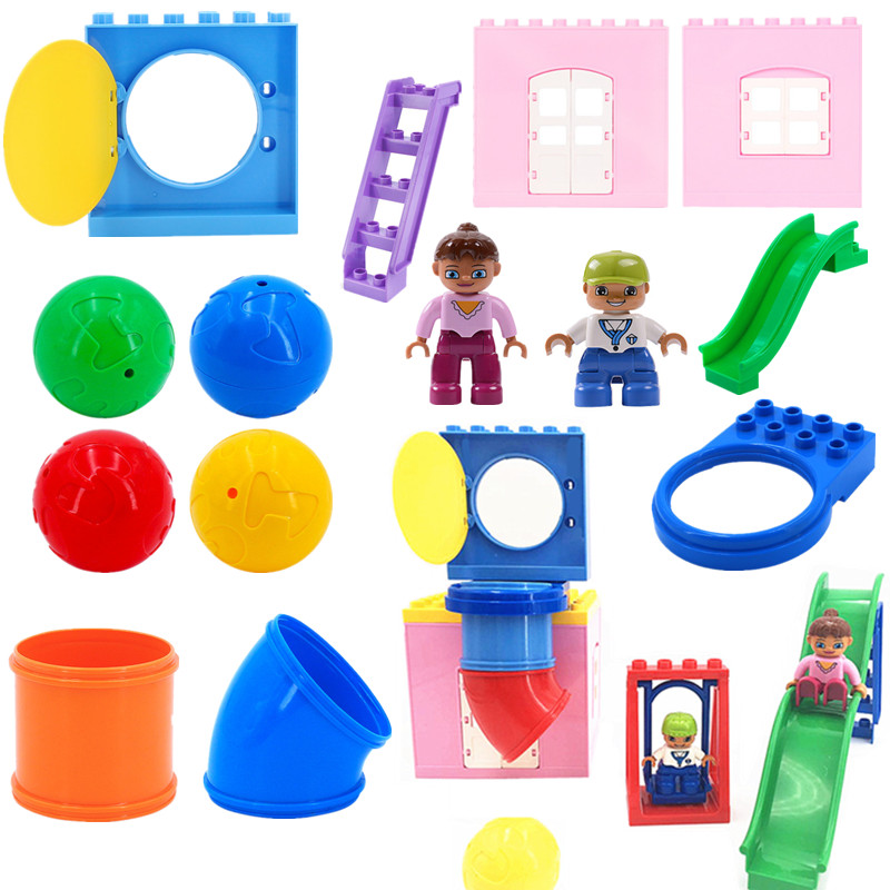 Diy Playground Pipes Sides Swing Building Blocks Baby Toys For Children Compatible With L Brand Duploed Parts Educational Toys