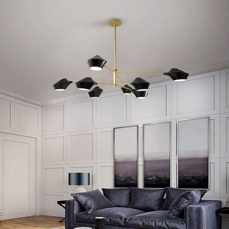 Nordic long black / white wrought iron chandelier post modern creative living room lamp personality bedroom simple lamps