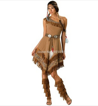 2017 Indian Cosplay Free Shipping ZY458 Ladies Fancy Dress Costumes Wild West Pocahontas Indian Costume S-2xl