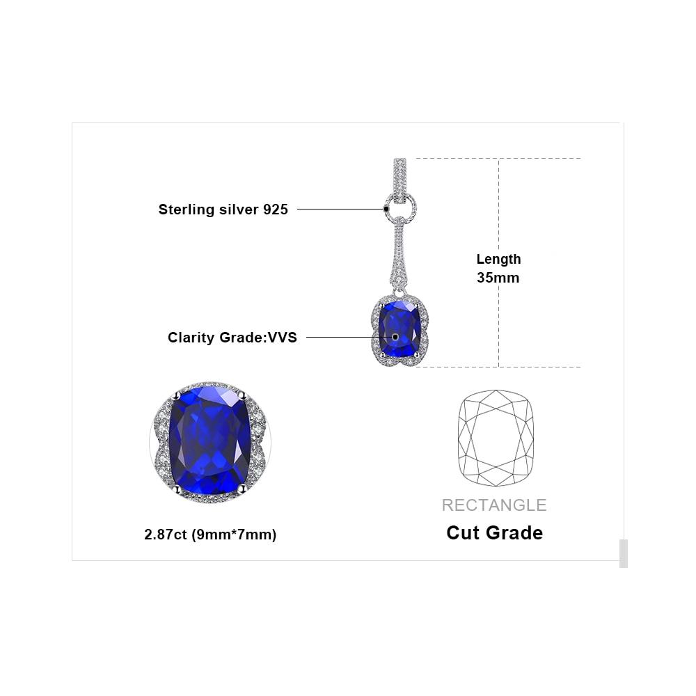 JewelryPalace Elegante rectángulo 2.9ct creado zafiro colgante 925 - Joyas - foto 5