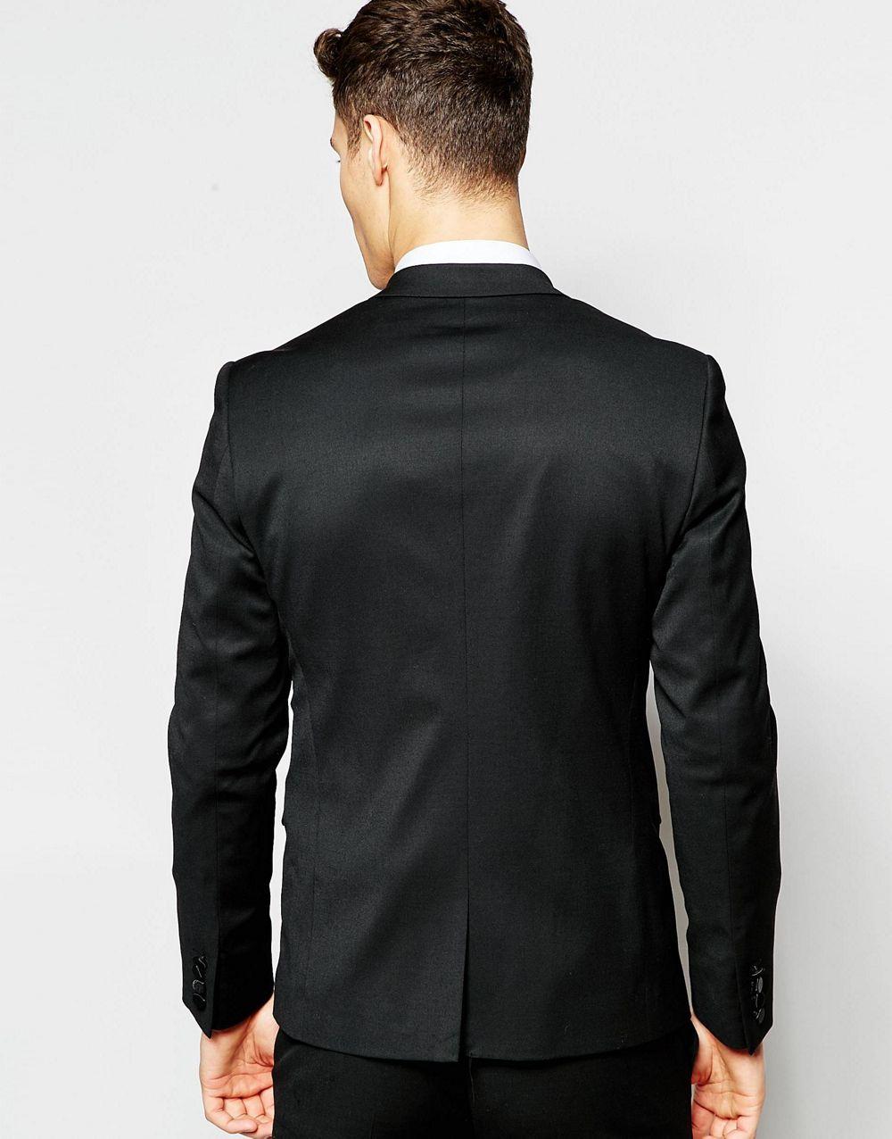 Costume Pour Hommes Designs Pièces Mariage Smoking Revers Satin Casamento Robe A Manteau Veste 2017 Atteint Pantalon Un De Dernière Noir 2 Sommet Terno Z64qx4
