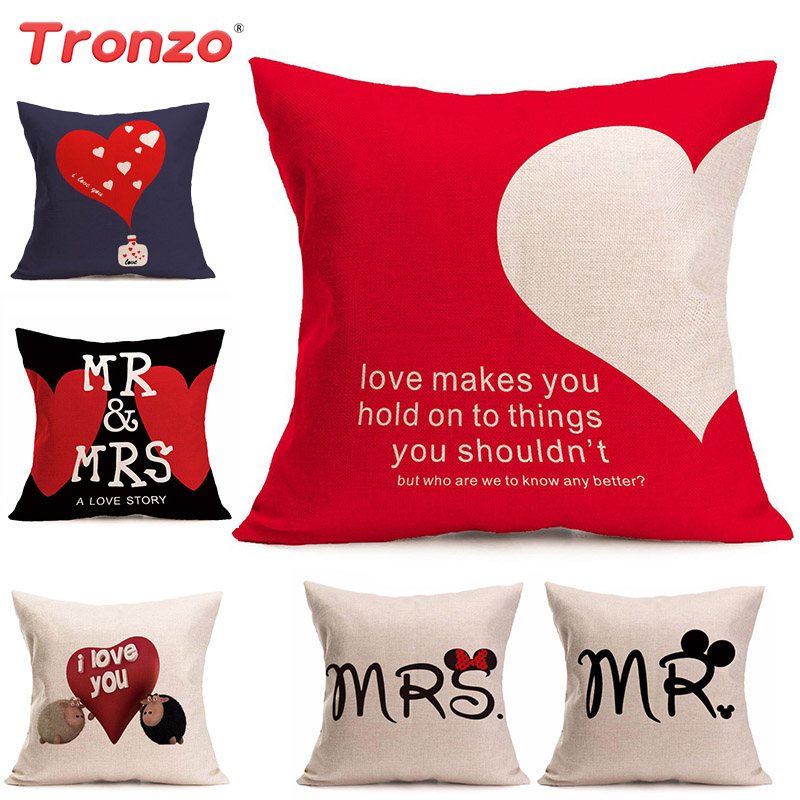 Tronzo Decorazioni per matrimonio Cartone animato Cuscino romantico Tela tela MR MRS Home Decor federe Decorazione cuore iuta per matrimonio