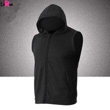 LoRun Brand Men's Sportswear Sports Vest Hooded Running Jackets Hoodies With Pockets Training Sleeveless Gym Fitness Tops Men