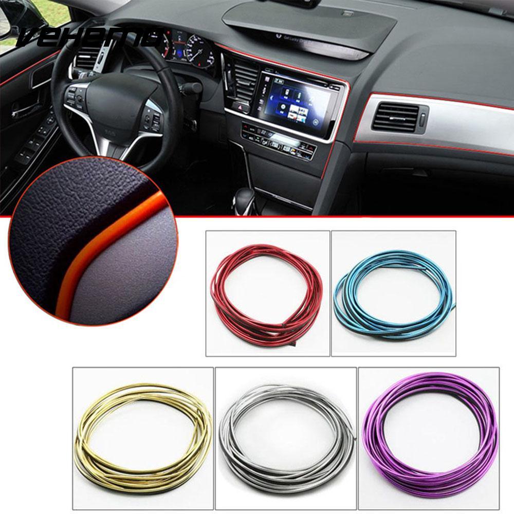 Vehemo Mouldings Strip Adhesive Strip Decorative Strips 10M Rubber Creative Car Styling Air Vent Panel DIY Guard Line Flexible