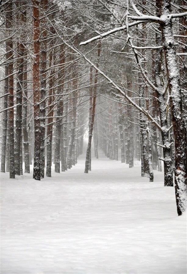 Laeacco Зимний снег лес путь живописные фотографии фонов винил фото фон пользовательские Задний план реквизит для Аксессуары для фотостудий