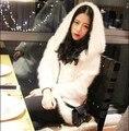 Genuine mink suéter de cachemira mujeres largo cardigan de cachemira pura con sombrero de invierno gruesa capa del suéter de visón envío libre JNS78