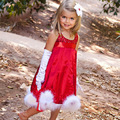 Baby Girl Christmas Party Dress Children Clothes Princess Cotton Solid Red Paillette Tutu Bow-knot Sleeveless Dresses W10237