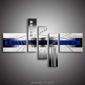 5 Pcs Oil Painting 100% High Quality Modern Abstract Line On Canvas Set Home Decoration Wall Art Picture For Living Room Sale
