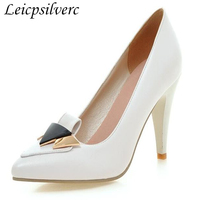 Spring new fashion high heels with spiky and elegant sexy women's shoes Plus Size 35 43