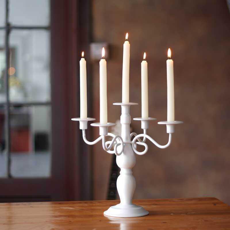 European Classical Palace Black White Five Iron Art Candlestick Romantic Wedding Candlestick Accessories Metal Candle Holder - 2
