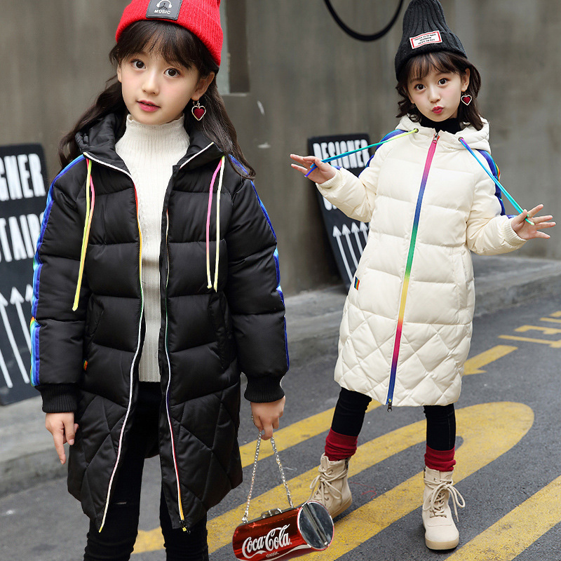 2017 New Kids Girls Down Parkas Children Winter Long Thicken Jacket Coat Hooded Cotton-padded Super Warm Overcoat 2015 new hot winter thicken warm woman down jacket coat parkas outerwear hooded splice mid long plus size 3xxxl luxury cold