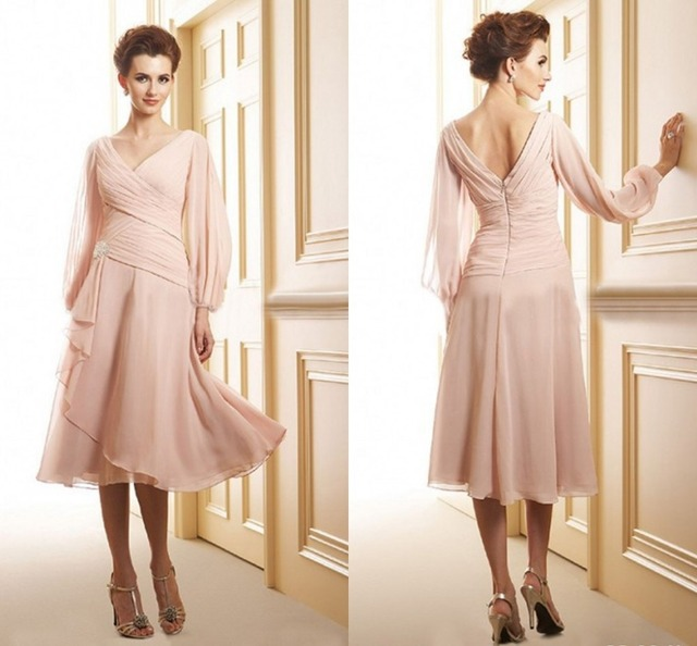 New Arrival A-Line V-Neck Chiffon Long Sleeve Mother Of The Bride Dresses Elegant 20156 Evening Formal Dress Guest Dresses 2