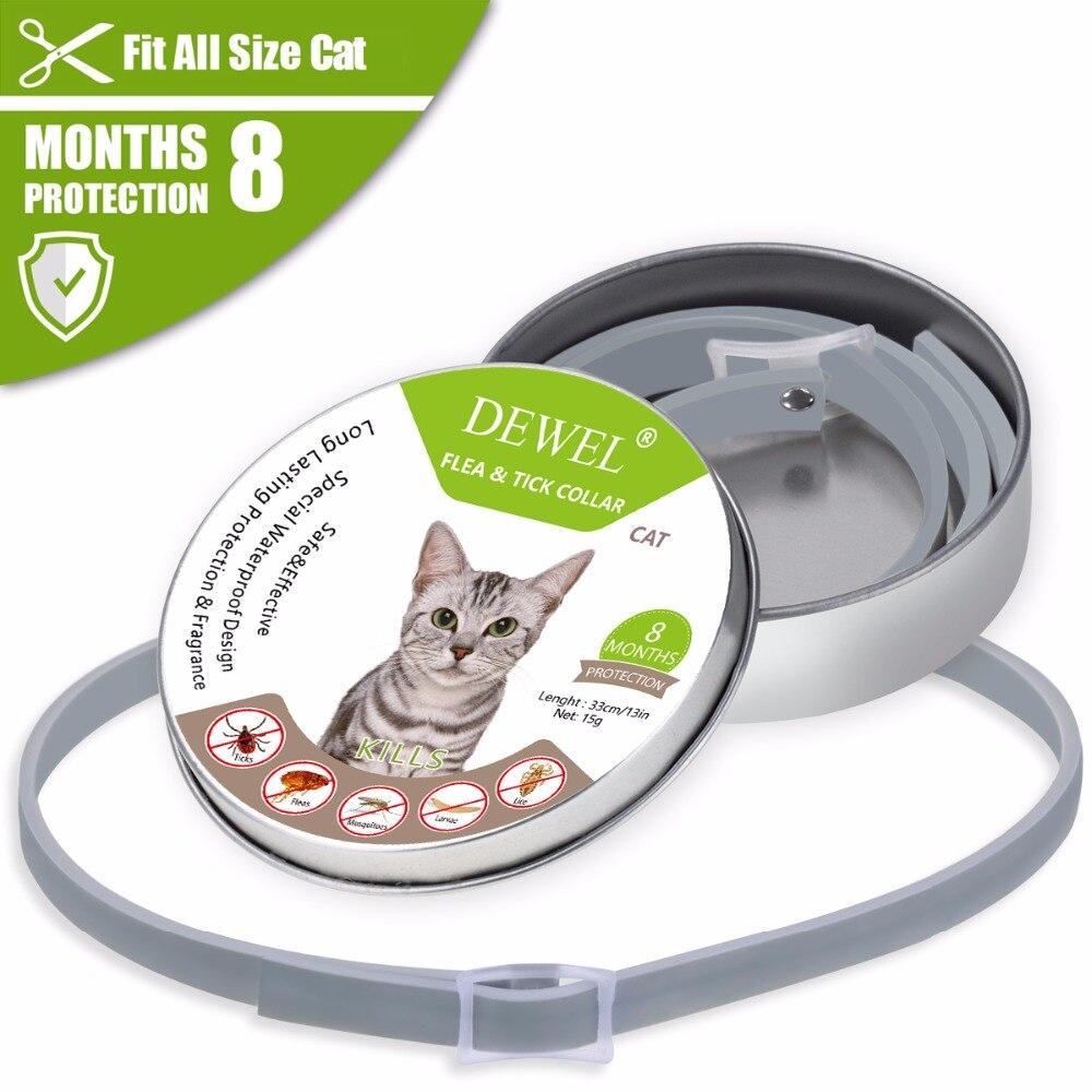 Dewel Sommer Anti-insekt Katze Hund Kragen Anti Floh Mücken Zecken Wasserdicht Katze Floh Kragen für Pet 8 Monate schutz
