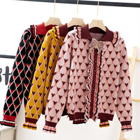 Winter Thick Jacquard Cardigans Women 2018 Fashion Ruffles Long Sleeve Heart Printed Argyle Bow Knitted Sweater Cardigan Manteau