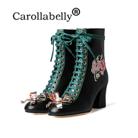 Carollabelly New fashion brand winter shoes lace up pearl genuine leather solid women ankle boots
