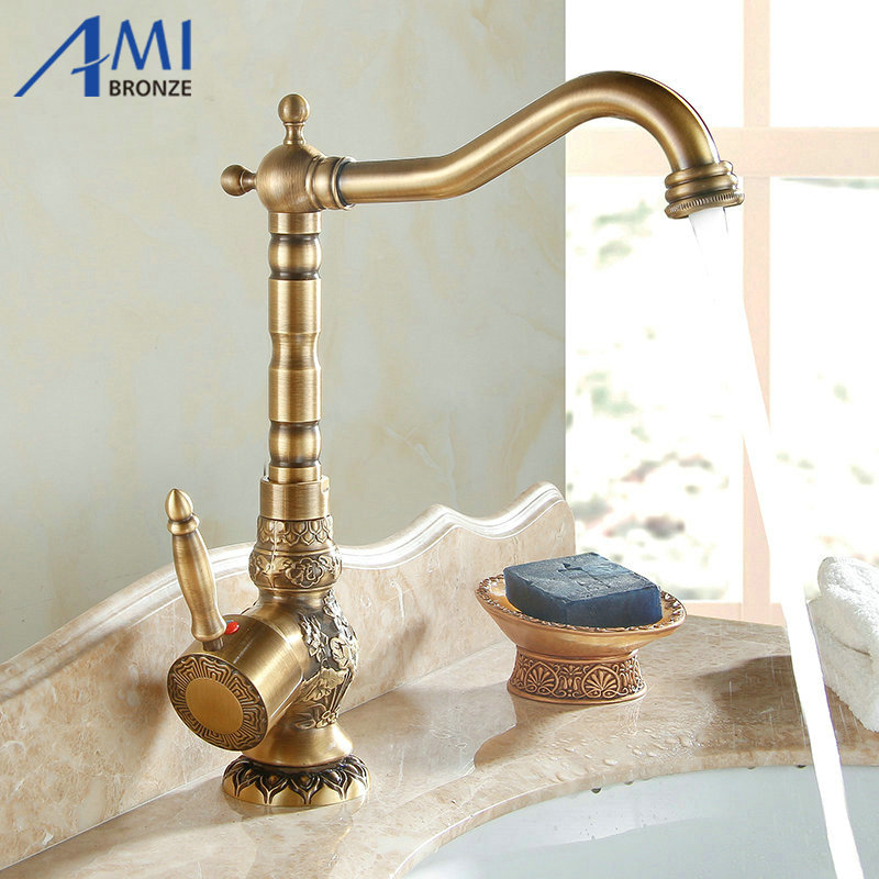 Luxury Carved Antique Brass Faucets Bathroom Sink Mixer Faucet Crane Basin Tap 360 Swivel Hot and
