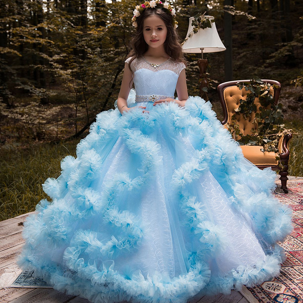 New Puffy Girls Pageant Dresses Glitz O-Neck Beading Ball Gown Flower Girls Dresses Princess Wedding Party Gown Vestidos Longo