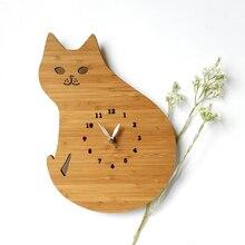 Bamboo Cartoon Wall Clock Home Living Room Wood Digital Wall Clock Children Room Decorative Lovely Cat Wall Clock