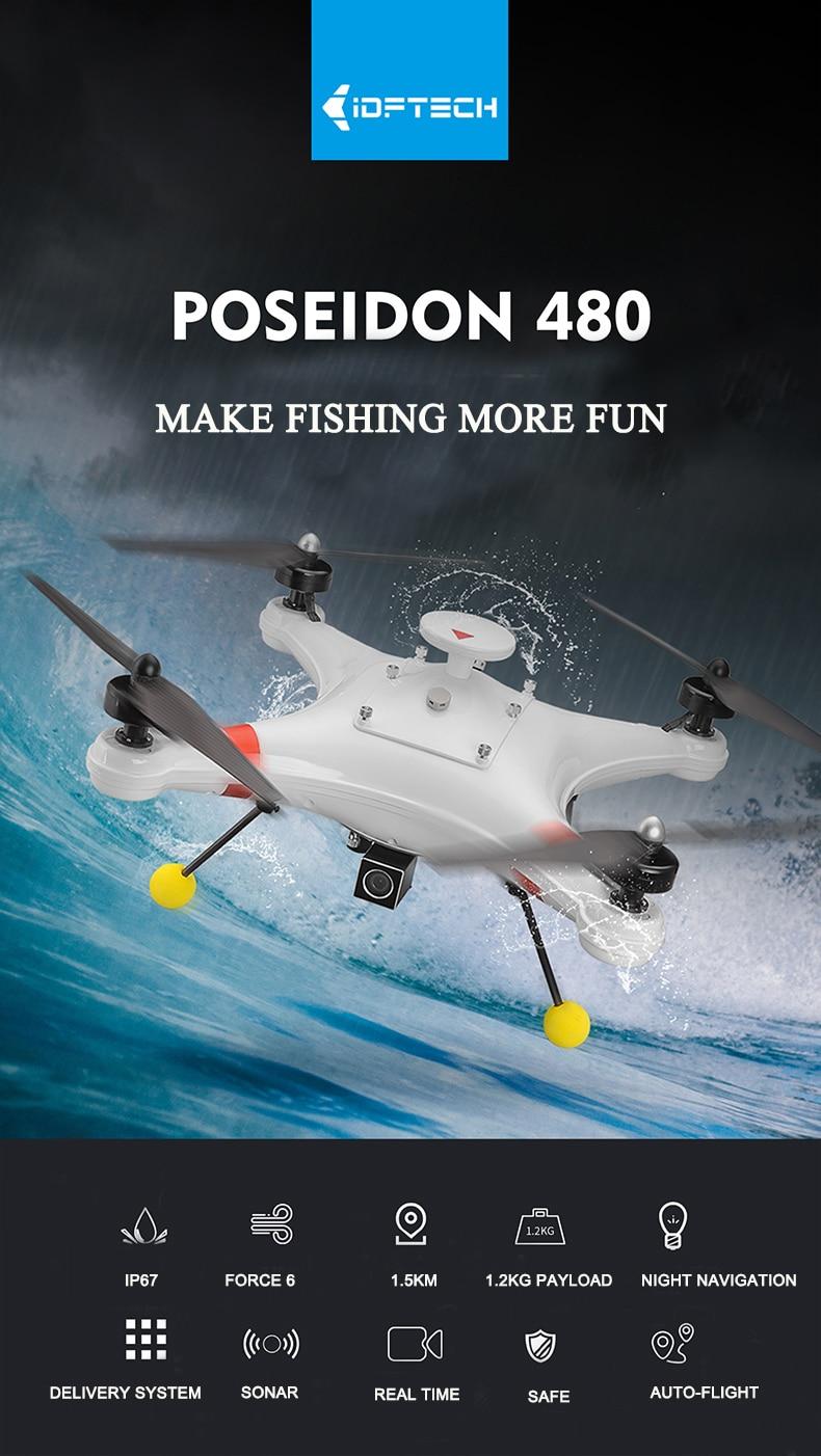 Drone de pêche professionnel étanche Poseidon-480 Poseidon480. 8G 700TVL caméra Drone FPV GPS RC 480