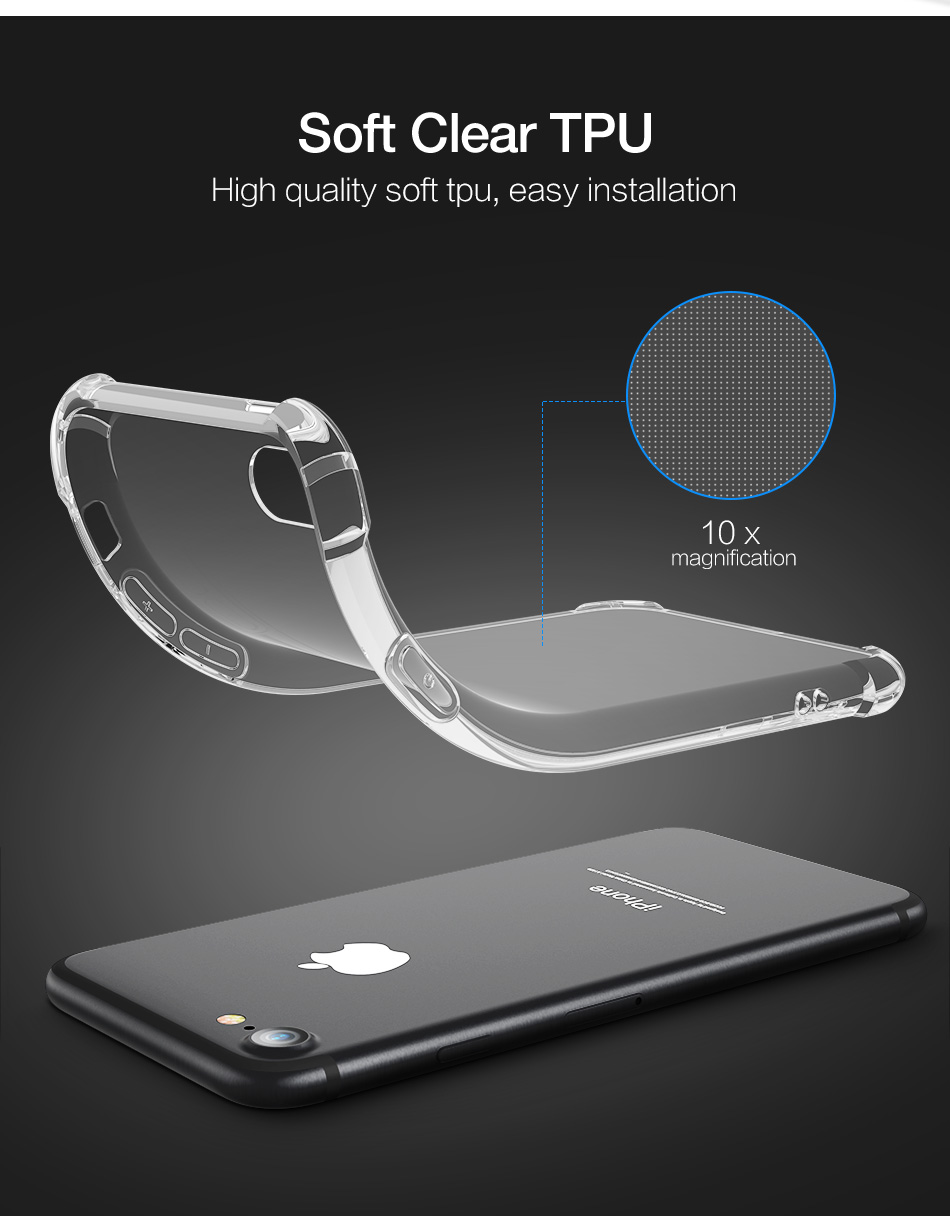 Shockproof Soft Silicone Transparent Cases For iPhone Models