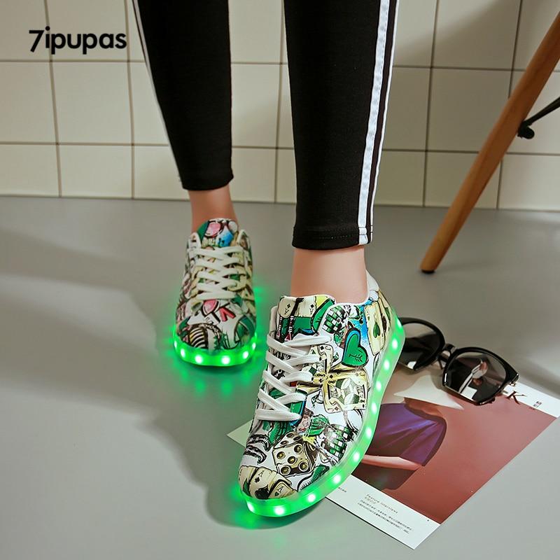7ipupas Children Light Led Shoe For Boy Girls Tenis Glowing Sneakers Zapatillas Poker Graffiti Usb Schoenen Cheap Luminous Shoes
