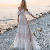 2019 V Neck Chic Lace Bohemian Casual Tulle Wedding Dresses Open Back Romantic and Sweet Satin Beachside Bridal Gowns AX137