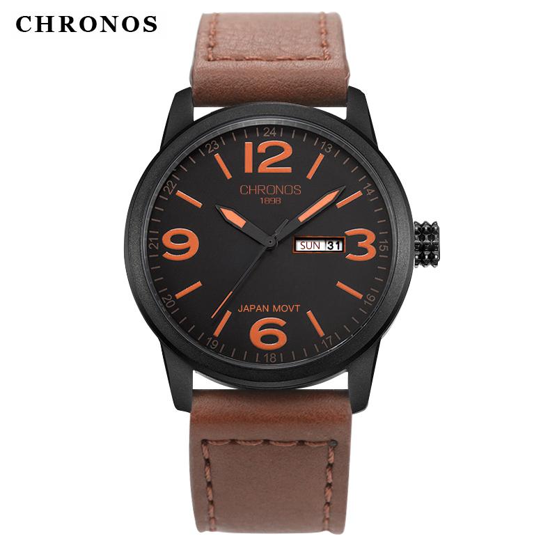 Prix pour Luxe top marque chronos montre hommes en cuir véritable occasionnels japonais quartz montre étanche date horloge relogio masculino de luxo