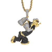 Hip Hop Jewelry Cartoon Anime Character Pendant Necklace For Men Women Micro Pave Zircon Necklaces Festival Gifts