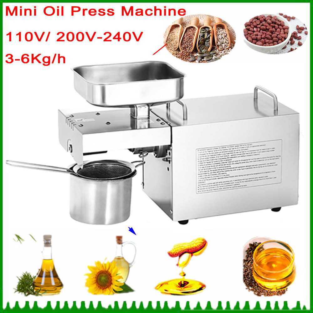 Brand New 220V Heat And Cold Home Oil Press Machine Peanut, Cocoa Soy Bean Oil Press Machine High Oil Extraction Rate 110 240v commercial small oil press machine peanut sesame cold press oil machine high oil extraction rate cheap price page 1