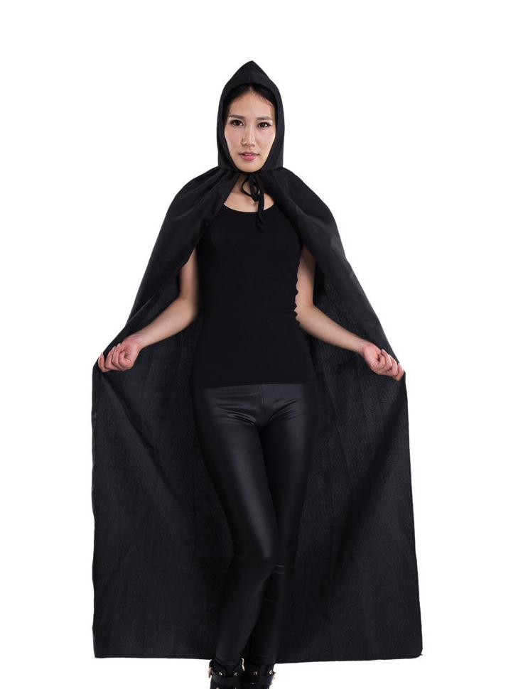 black hooded cloaks halloween costumes cloak for women new black velvet satin lined hooded vampire cape party cloak 3pcsyf004 in scary costumes from