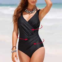 Nuevo verano sexy push up leotardo de espalda descubierta femenino estilo plegado sólido traje de baño de gran tamaño traje de baño de una pieza para mujer