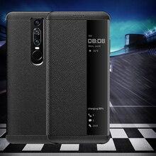 עבור Huawei Mate RS מקרה יוקרה אמיתי עור צפה תצוגת חלון חכם Flip מקרה עבור Huawei Mate RS פורשה עיצוב כיסוי Coque