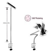 White Portable Plastic & Steel Desktop Stand Smart Phone Tablet Holder Stand for Desk Bed Stand Tablet Clamp Stands LP7
