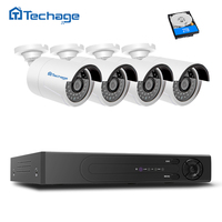 Techage H265 FULL HD 4 0MP Outdoor IP PoE Surveillance System 4 Waterproof Security Camera 4