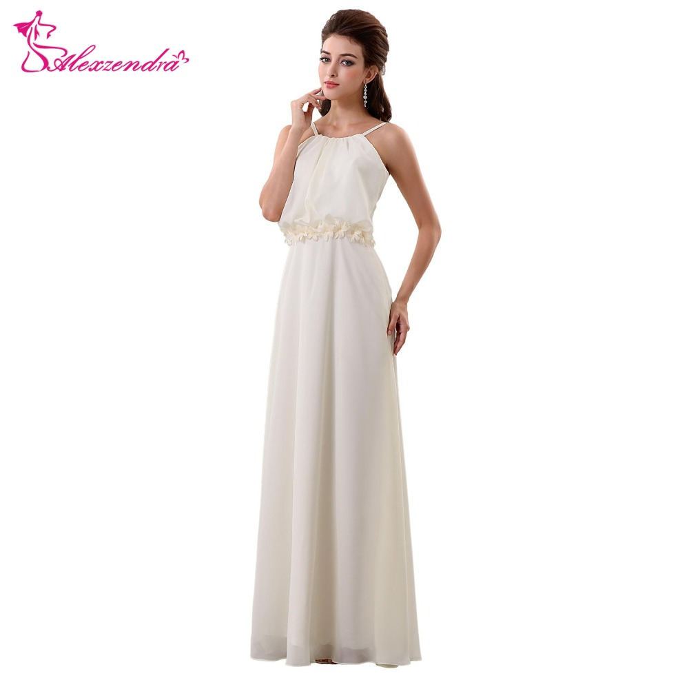 Flower Belts For Wedding Dresses: Alexzendra Simple Chiffon Beach Boho Wedding Dress With