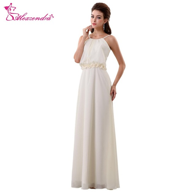 Us 79 15 15 Off Alexzendra Simple Chiffon Beach Boho Wedding Dress With Flowers Belt Halter Up Bridal Gowns Plus Size In Wedding Dresses From
